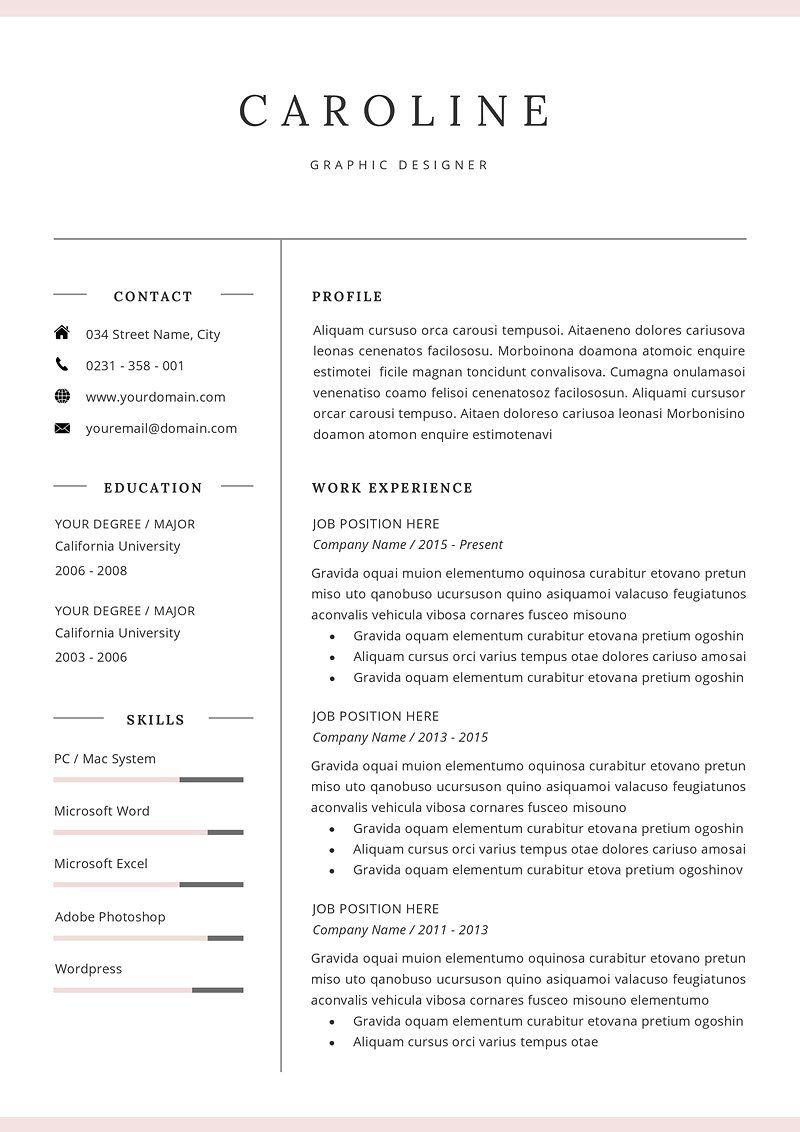 Professional Resume/CV Template Simple resume template