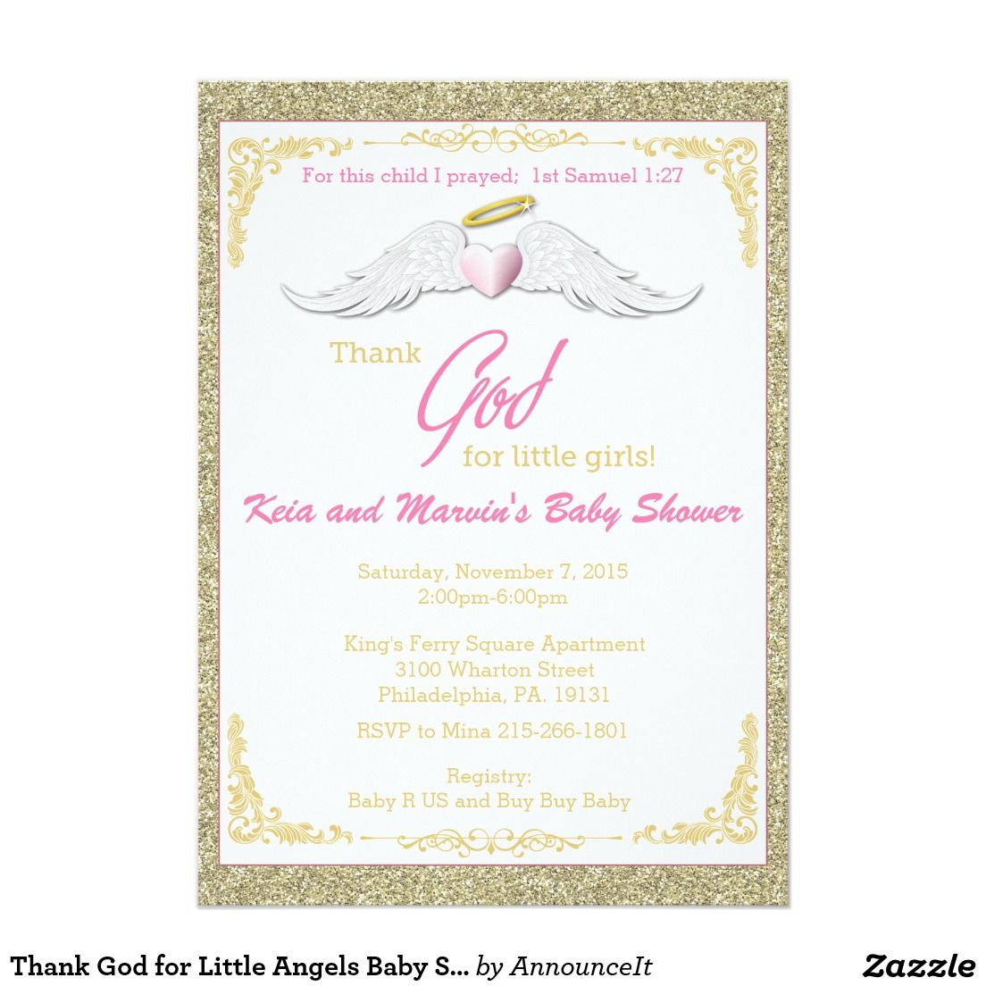 Thank God for Little Angels Baby Shower 5x7 Paper Invitation Card ...
