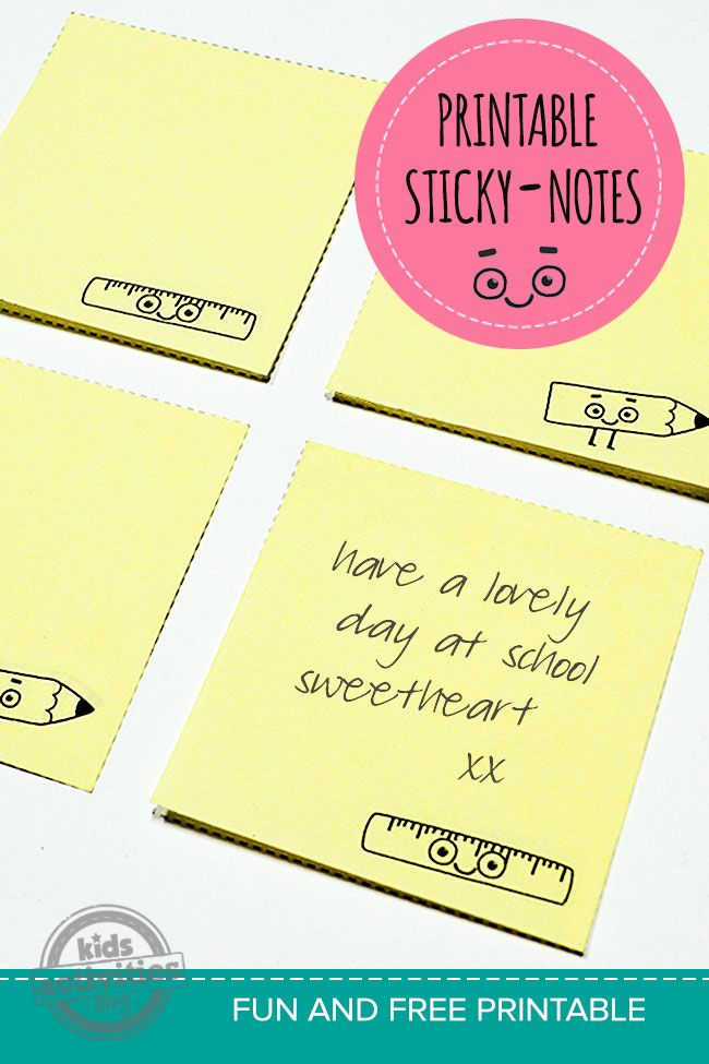 Back To School Free Printable Lunch Notes  Free Printable Note