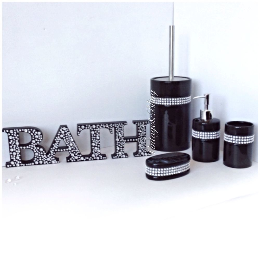 5pc Black Ceramic Diamante Sparkle Bathroom Accessory Set New