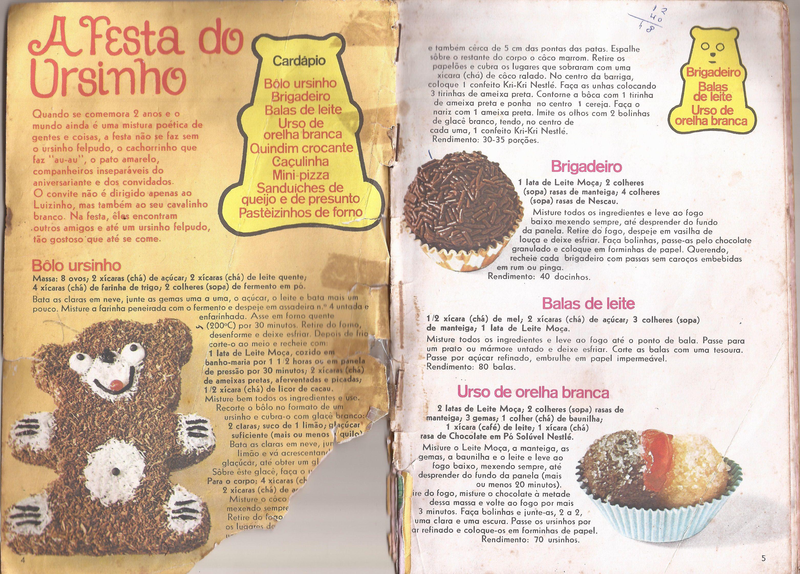 Leite Moca Nestle Livro Antigo De Receitas De Doces De Festa