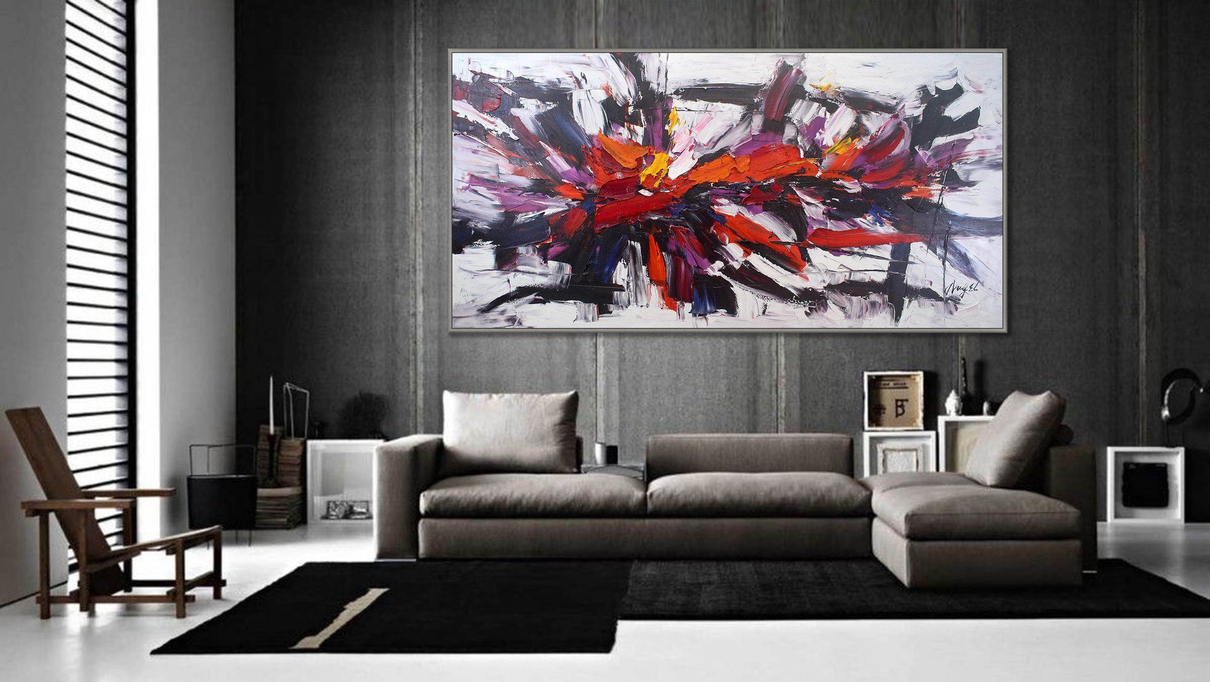 Original oil painting on canvas red black extra large modern abstract wall art texture palette knife modern art oversize 48x96 120x240cm