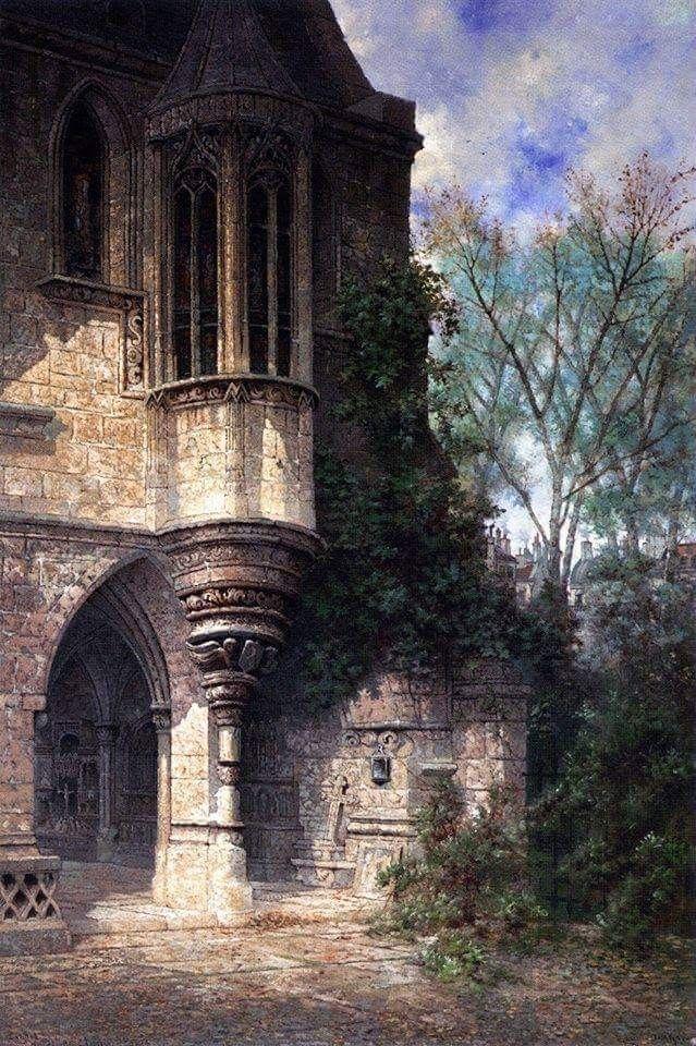 """Edwin Deakin (English, 1838-1923), """"Entrance to Chapel, Hotel de Cluny"""" Oil on canvas, 137.5 x 92.1 cm Sacramento (USA), Crocker Art Museum Grazie Arnold Böcklin (Bocklin o Boecklin)"""