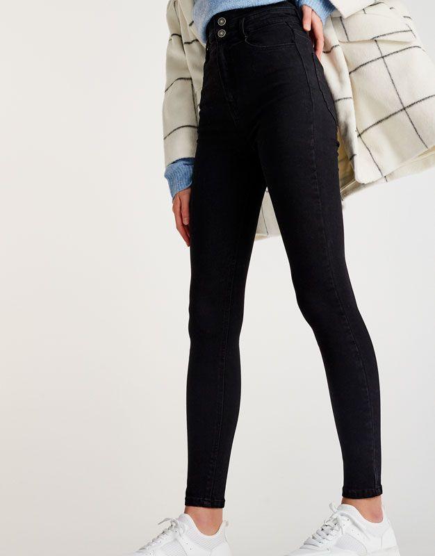 9a5107768cf Jeans skinny fit tiro alto botones - Pantalones - Ropa - Mujer - PULL BEAR  Colombia