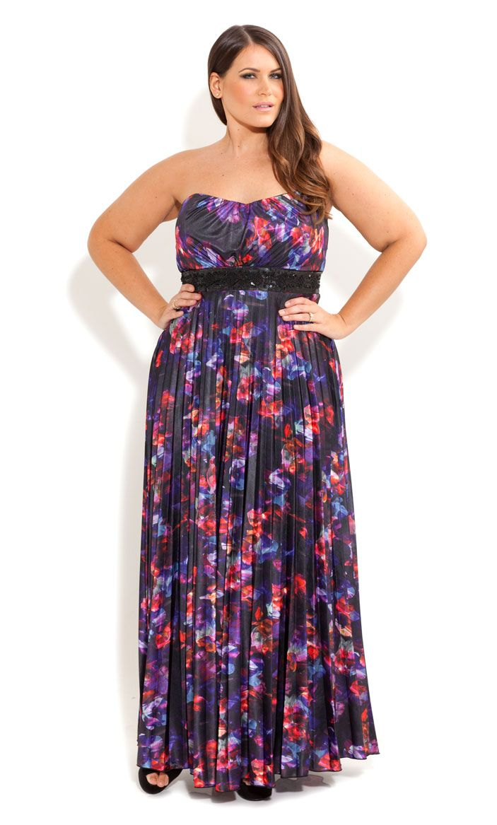 City Chic - PRESSED FLORAL MAXI DRESS - Women\'s plus size fashion ...