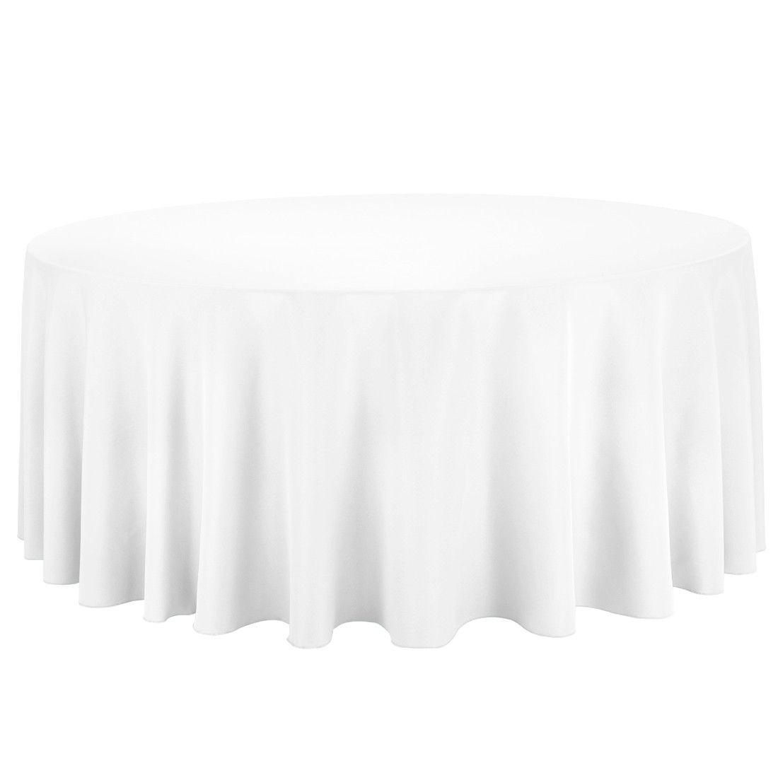 132 in Round Economy Polyester Tablecloth White Tables Round