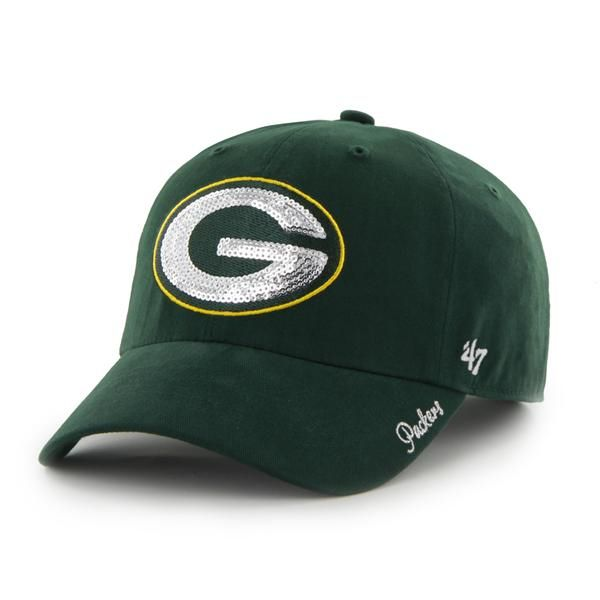 b3f1969bf Green Bay Packers Sparkle Team Color Clean Up Dark Green 47 Brand Womens Hat