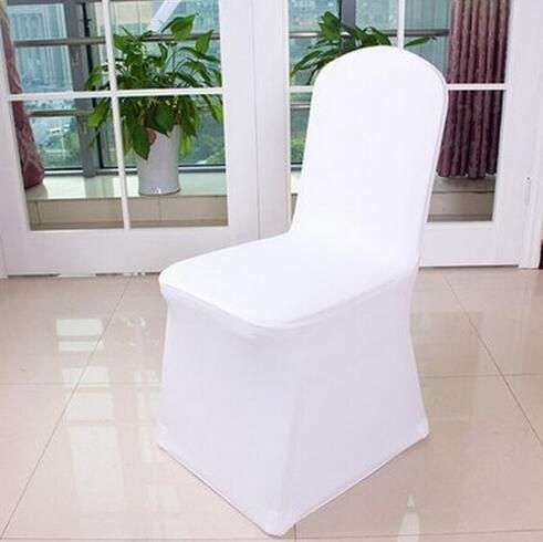 Free Shipping 200pcs Universal White Spandex Wedding Lycra Chair Covers For Wedding Banquet Hotel Decor Cheap Chair Covers Outdoor Chair Cover Wholesale Chairs