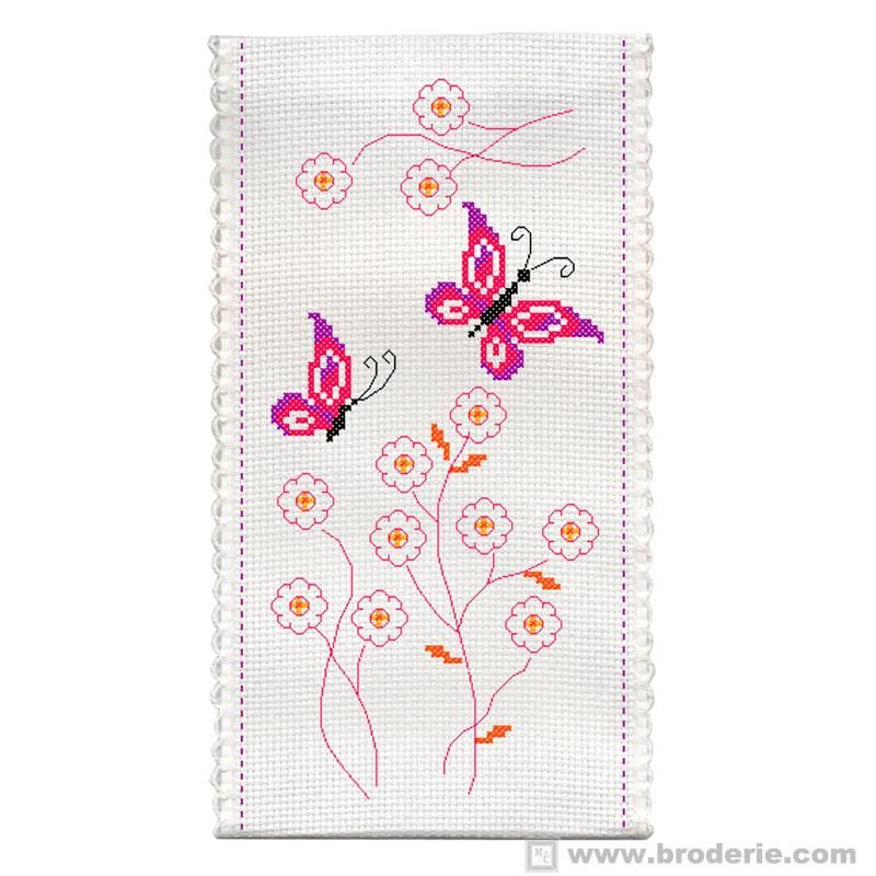 Ricamo punto croce astuccio farfalle e fiori princesse pr for Farfalle a punto croce