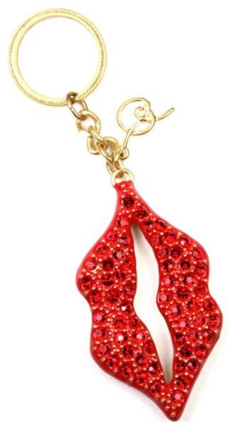 Rachel Roy Gold Tone Red Glitter Lips Key Chain a90231f61d