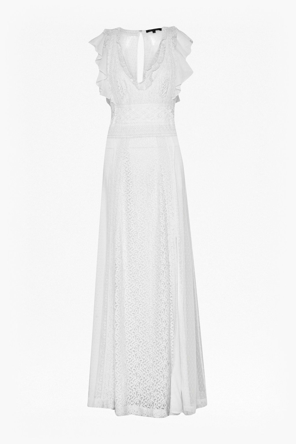 Ulue ucliue long lace maxi dress with split leg and loose frilled