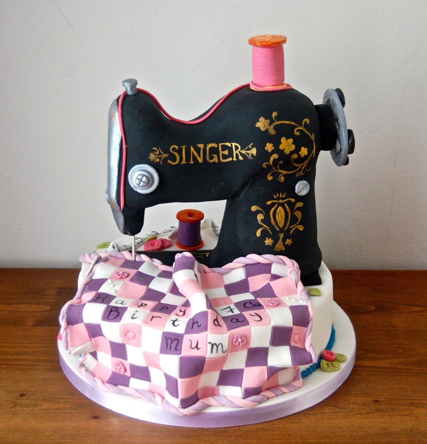 A traditional Singer sowing machine birthday cake Bakery
