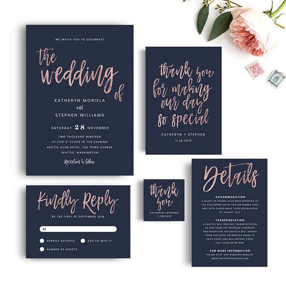Navy Blue Wedding Invitations Modern: Navy Blue & Rose Gold Wedding Invitation Templates, Modern