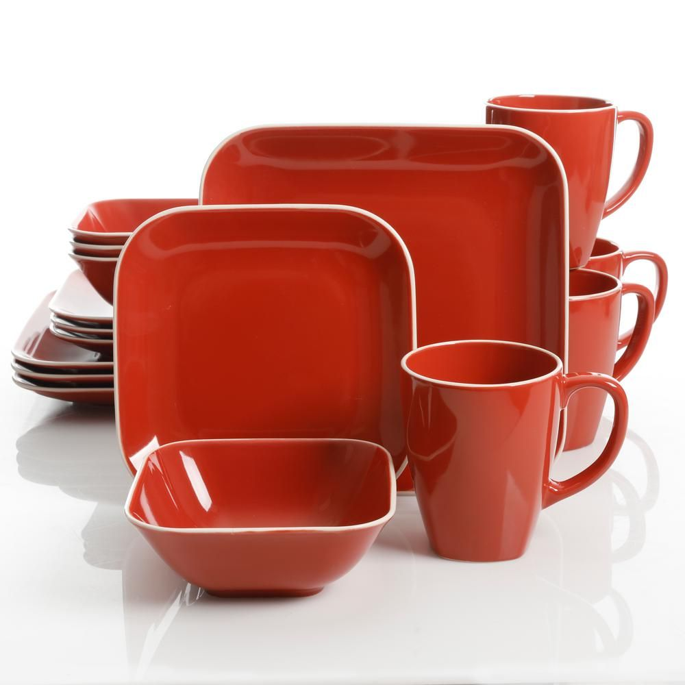 Gibson Home Square Dance 16 Piece Red Square Dinnerware Set In