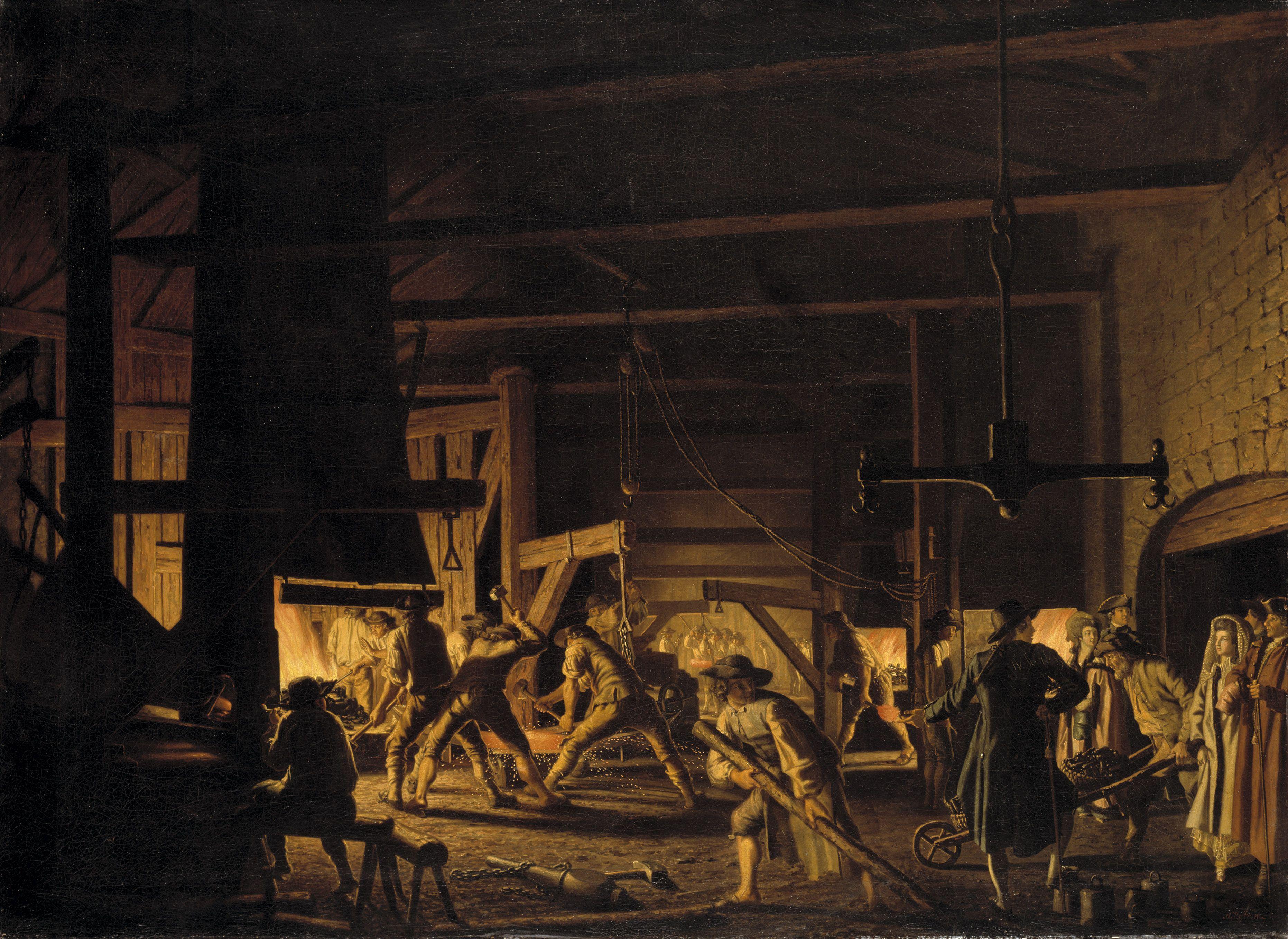 Besök i Söderfors ankarsmedja, Smederna i fullt arbete, 1782, olja på duk, 137 x 185 cm