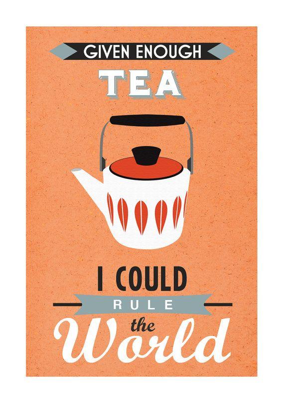 Retro Tea Kitchen Poster Orange by oflifeandlemons on Etsy, $16.00 ...