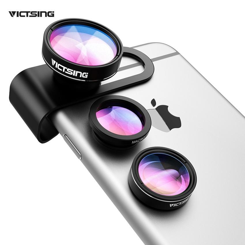 new product e4d1c c1dfb 3-in-1 Phone Camera Lens Kit Aluminum Clip-On 180 Degree Fisheye ...