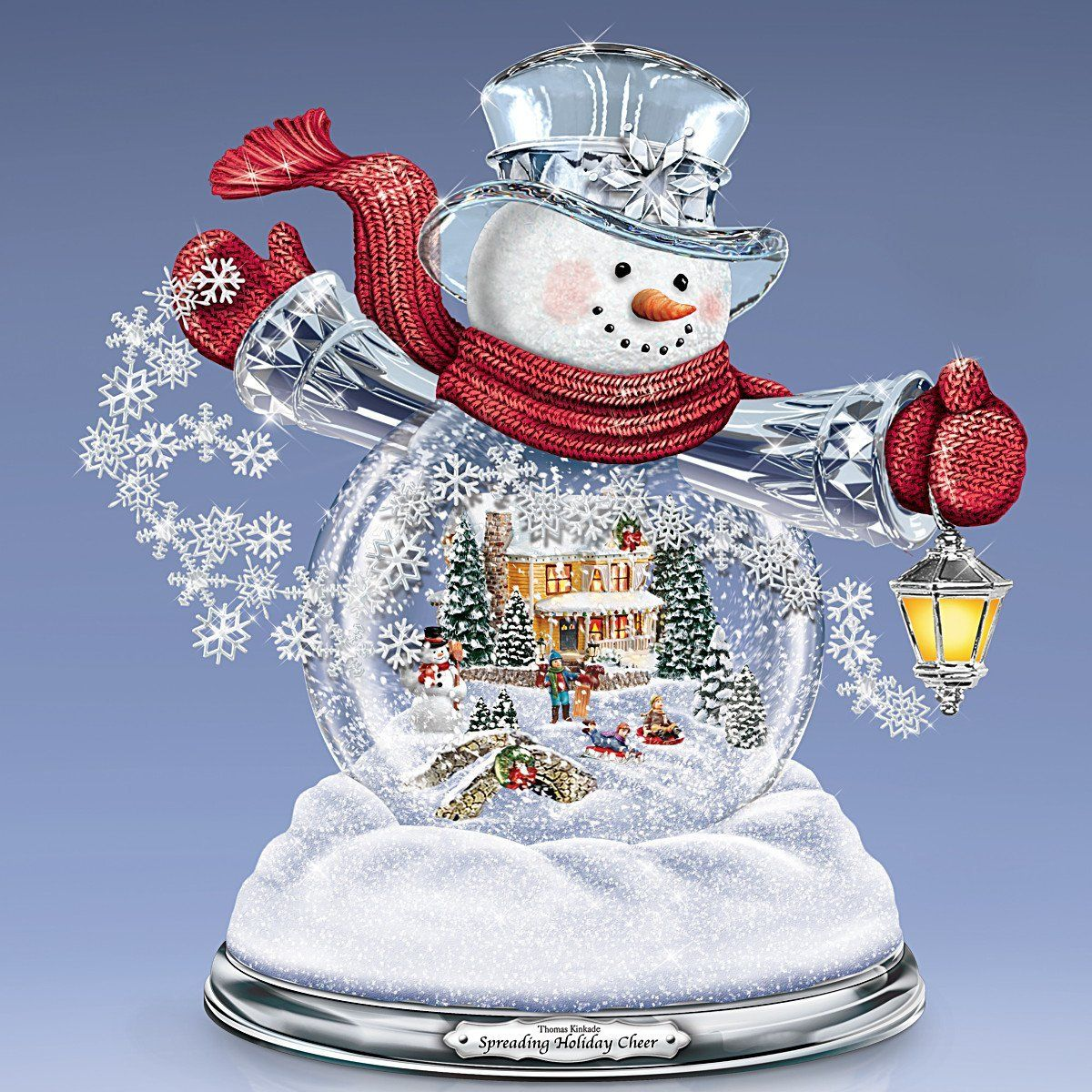 Thomas Kinkade Snowglobe Snowman with Lighted Scene Plays 8 Holiday ...