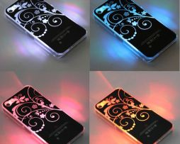Luxusný svietiaci LED obal na Apple iPhone 5 s motívom kvetín  f11db23c011