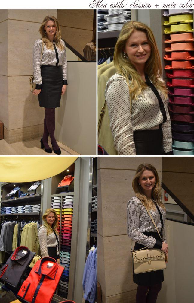 meu estilo saia de couro camisa dudalina e meia colorida