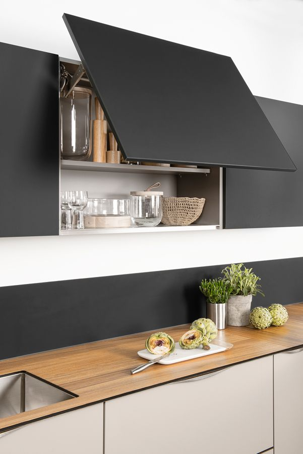 on aime l 39 ing niosit du syst me d 39 ouverture des placards rend la ligne pur e cuisine darty. Black Bedroom Furniture Sets. Home Design Ideas