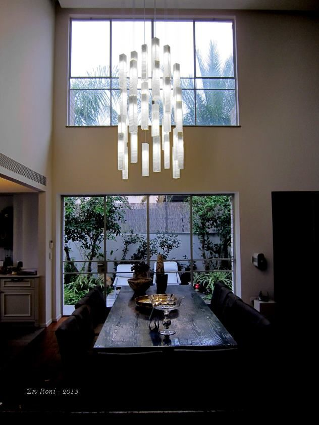 Galilee lighting white candles modern pendant lights made of fused glass custom size and - Modern dining room lighting fixtures ...
