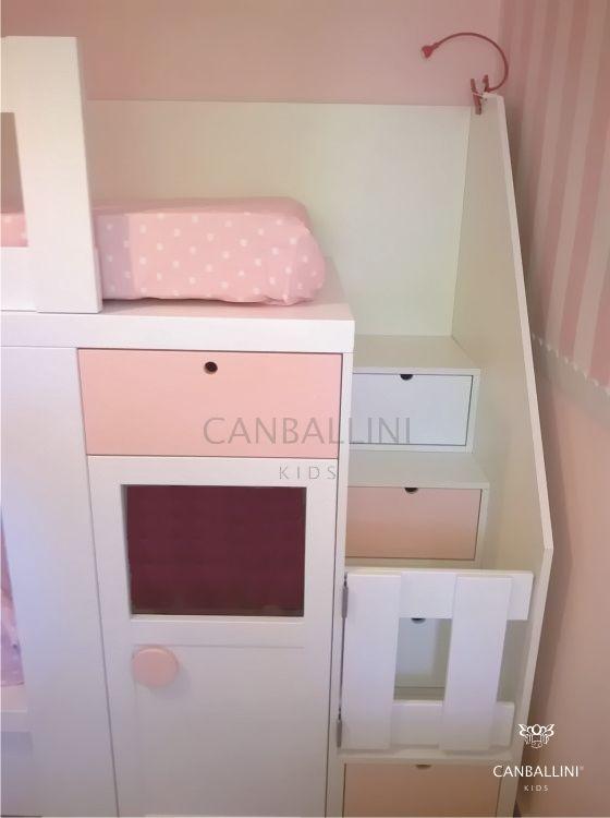 Barrera para escalera de litera tren en blanco y rosa para - Habitaciones infantiles tren ...