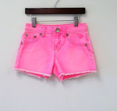 Justice Neon Pink Denim Shorts Cut-Offs / Jeans Shorts Size 7R ...