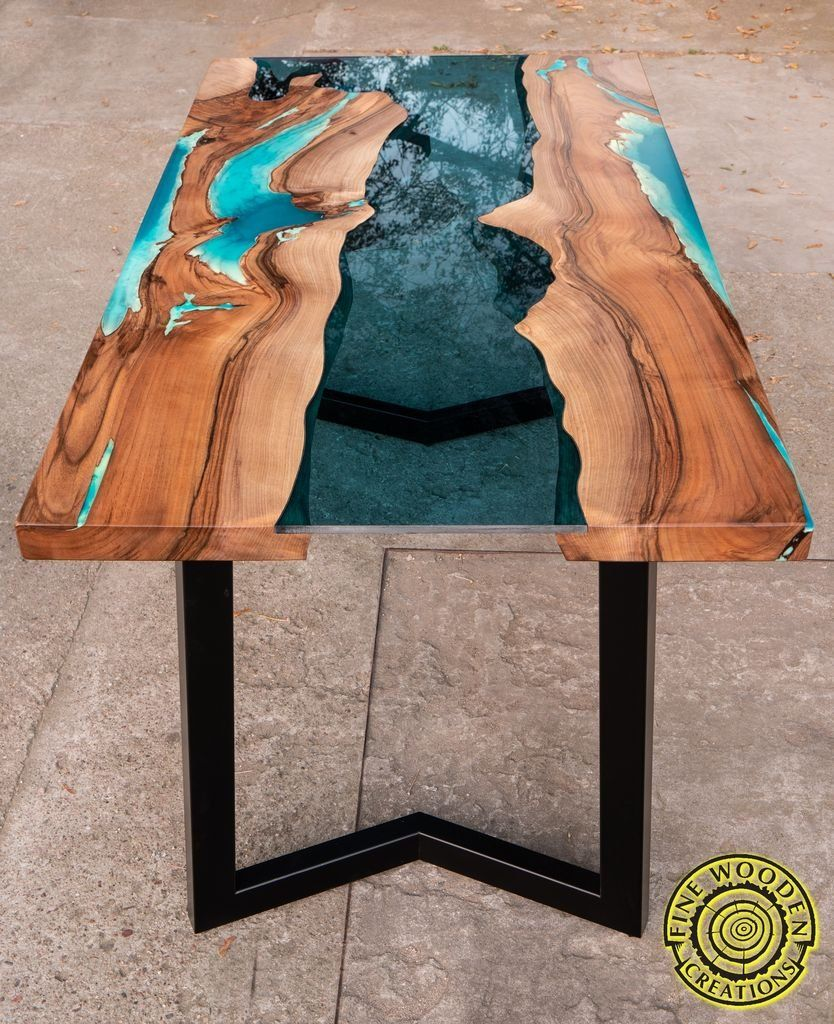 Pool Bauen Mit Epoxidharz Live Edge 3d Effect River Dining Table With Turquoise Glowing