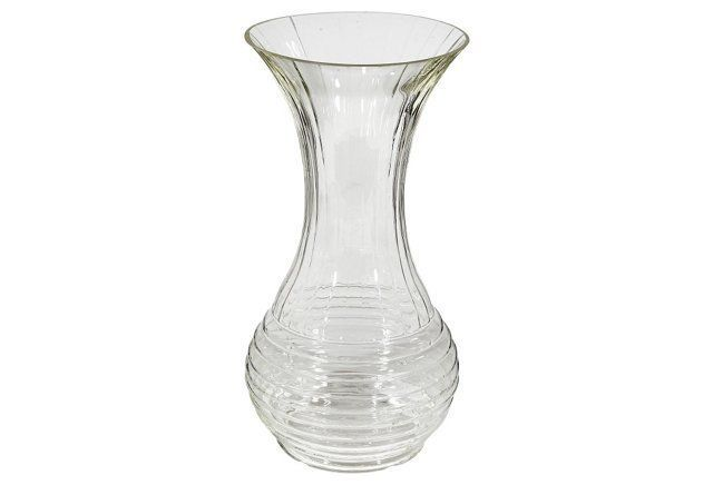 Large Ringed Glass Vase Glass Vase Vase Glass
