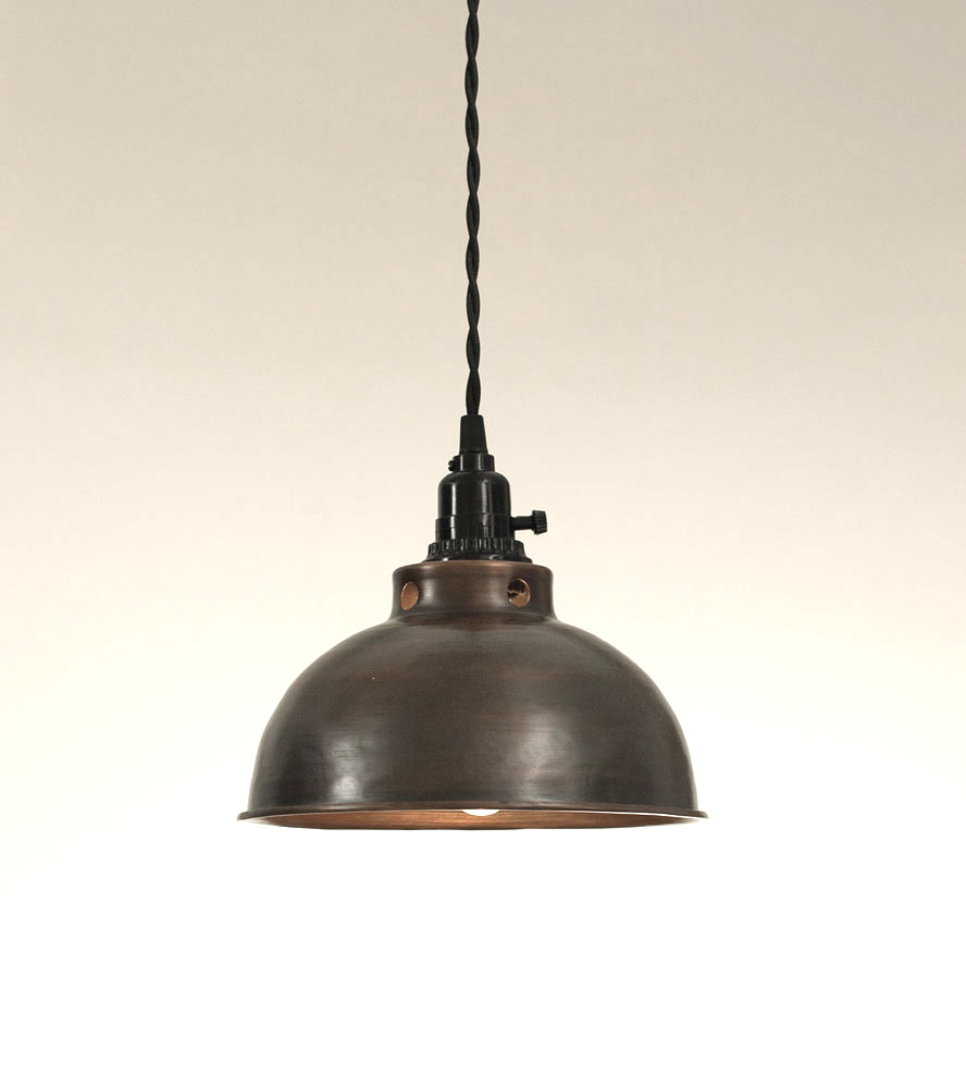 Rustic Farmhouse Dome Pendant Lamp - Aged Copper #951ryecourt