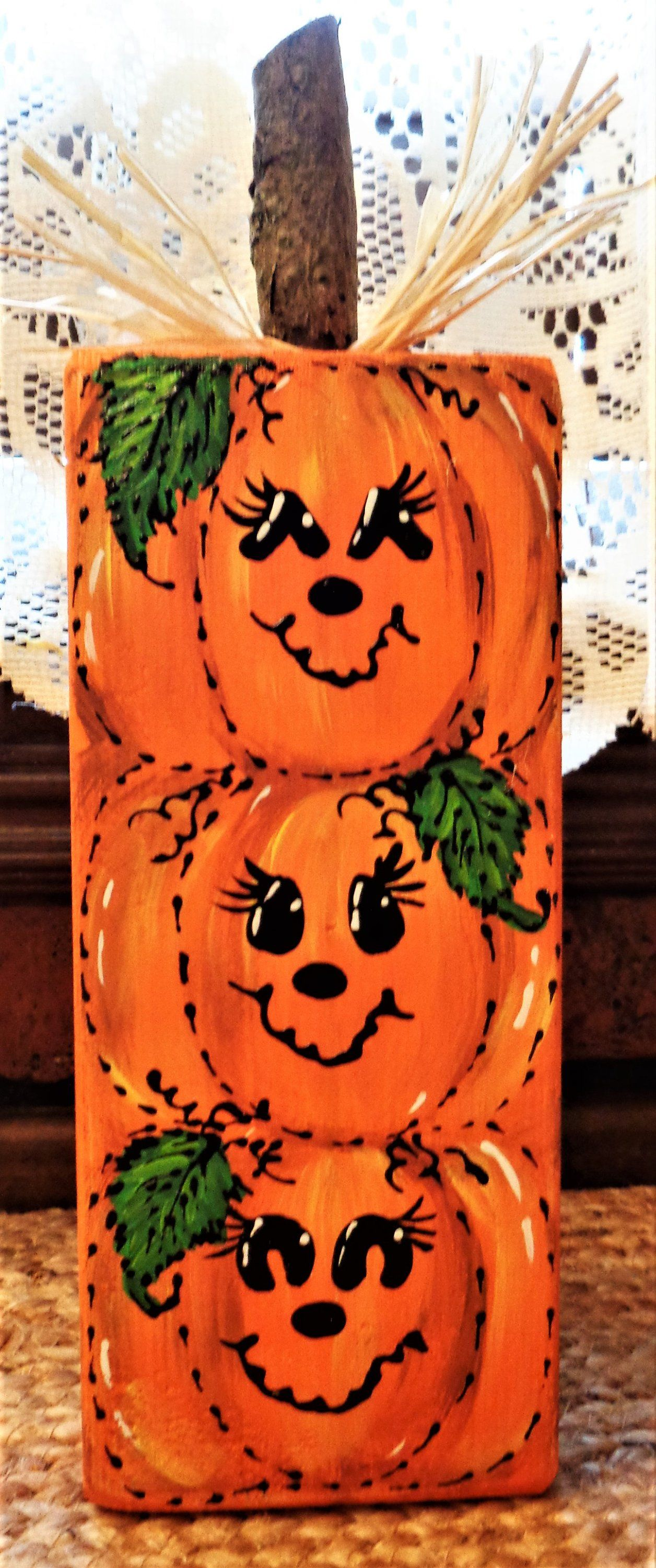 Halloween badezimmer dekor triple chunky wood block pumpkin sitter halloween fall autumn