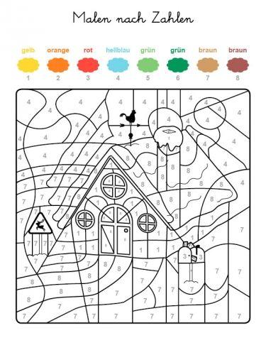 Malen Nach Zahlen Haus Im Schnee Ausmalen Zum Ausmalen Malen Nach Zahlen Malen Nach Zahlen Kinder Ausmalen