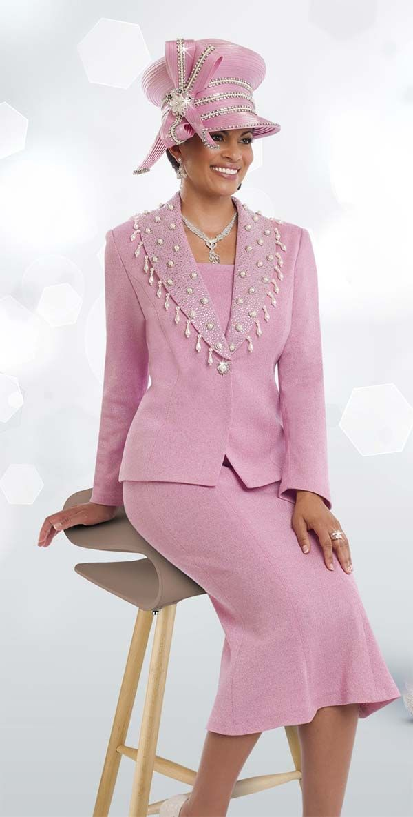 Donna Vinci Knits 13190 Womens Knit Suit For Church With Pearls