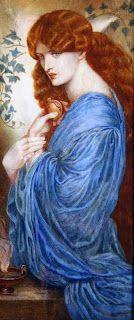 Corsi Lalli - Proserpine after Gabriel Dante Rossetti, c.1890 -- watercolour on ivorine