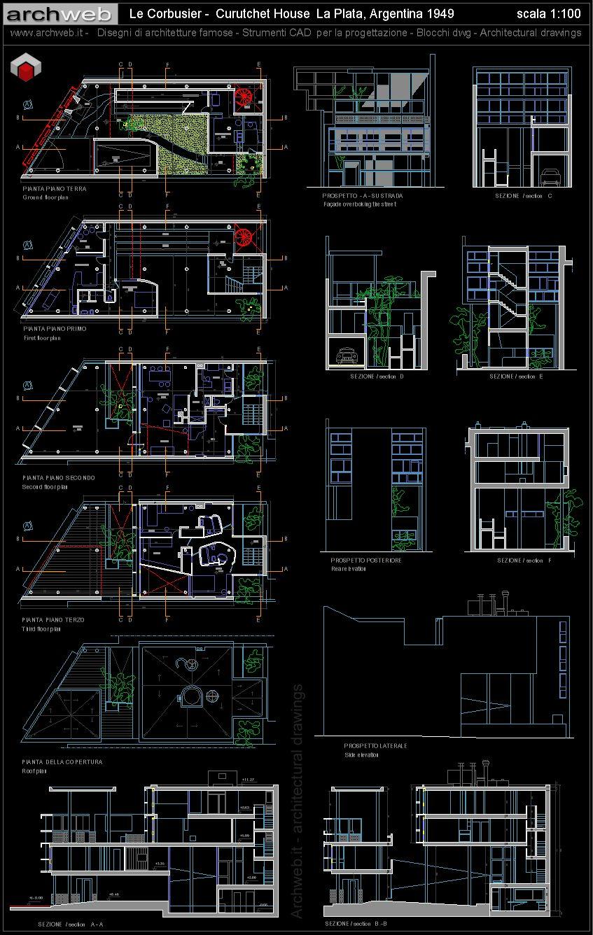 Le Corbusier  Curutchet House 2D dwg drawings  arhitecture  AutoCAD Le corbusier Architecture design