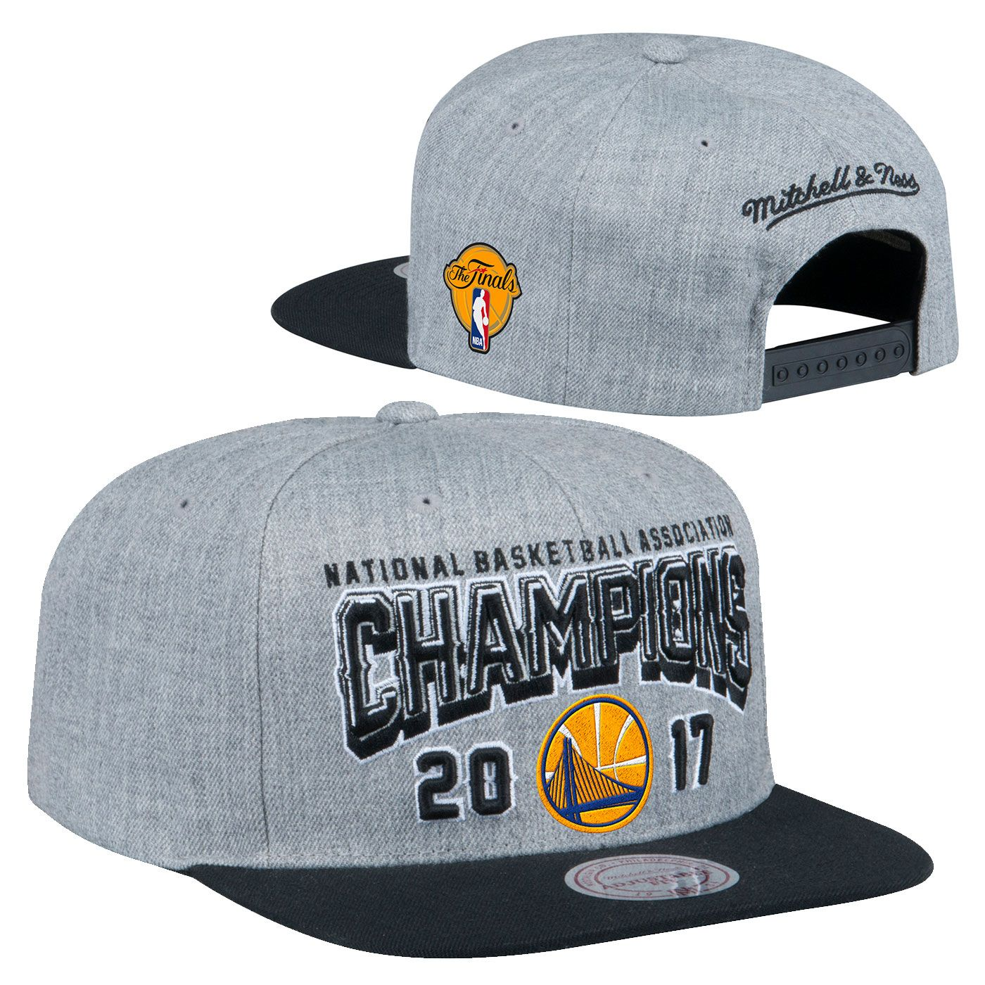 Show your love for the 2017 NBA Champions with this flat brim high crown  adjustable snapback hat from Mitchell 686fb4f6ac9d