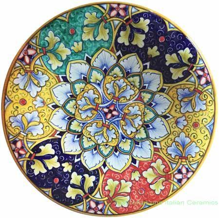 Ceramic Majolica Plate Geometrico Multi-color
