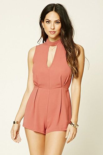 High-Neck Lace Cutout Romper