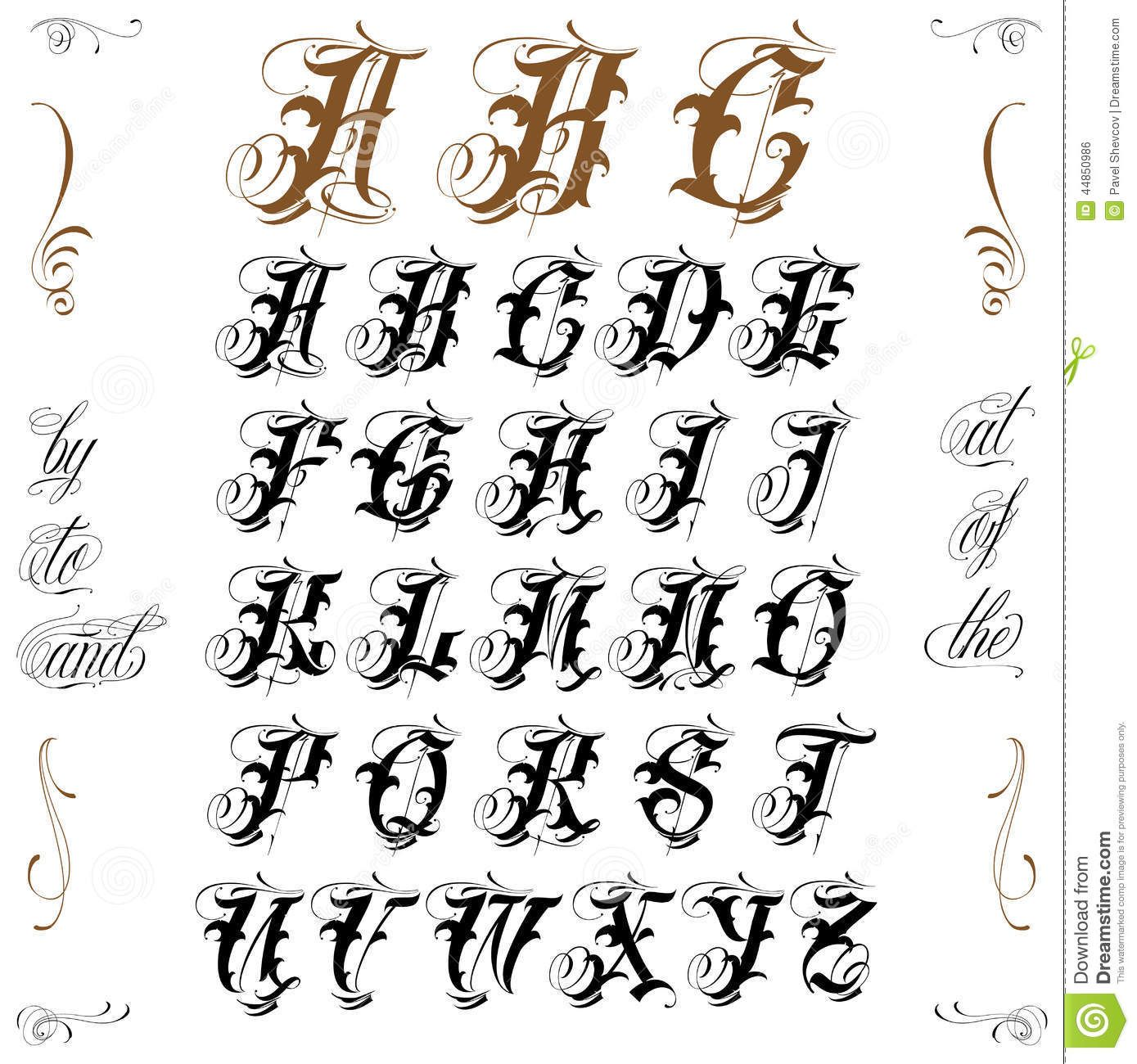 Tattoo lettering stock vector image tatts