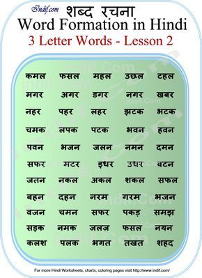 Read Hindi - 3 letter words   Hindi worksheets, 3 letter ...