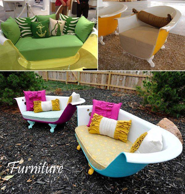 fauteuil et canap avec une baignoire en fonte diy salon salle manger pinterest. Black Bedroom Furniture Sets. Home Design Ideas