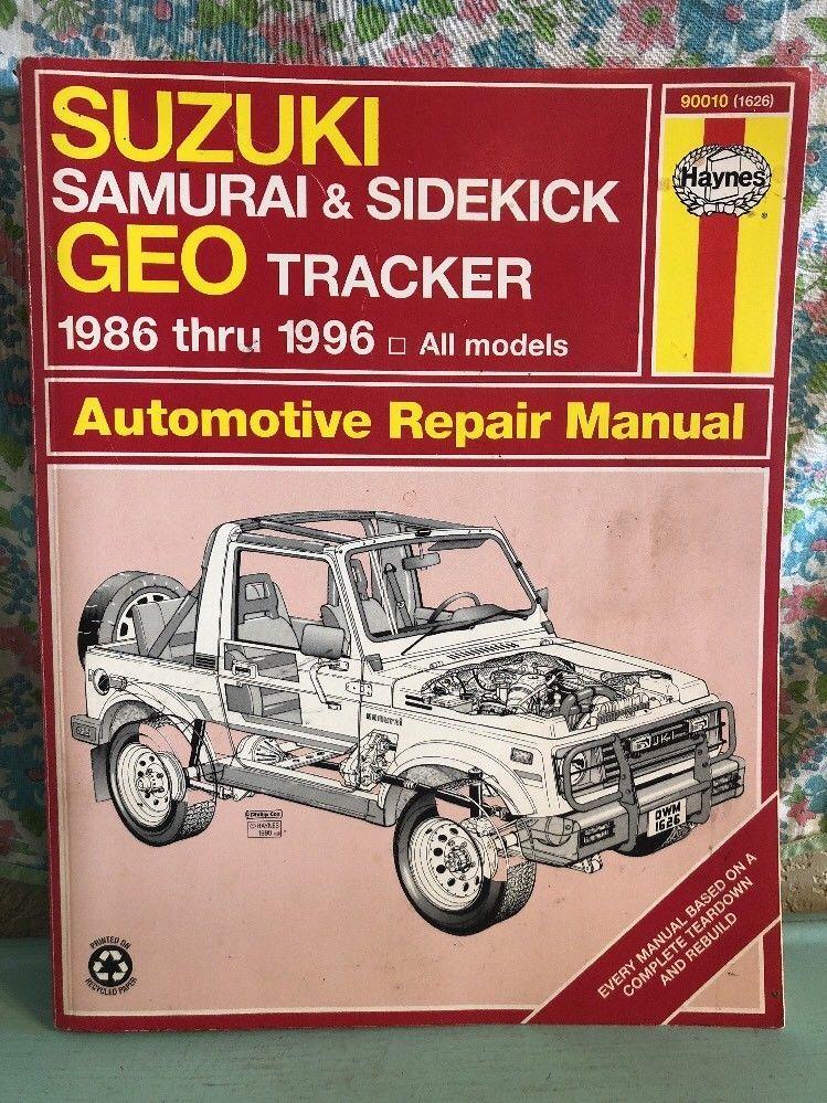 vintage haynes manual suzuki samurai sidekick geo tracker 1986 thru rh pinterest com Haynes Repair Manual Spark Plugs Haynes Repair Manuals Mazda