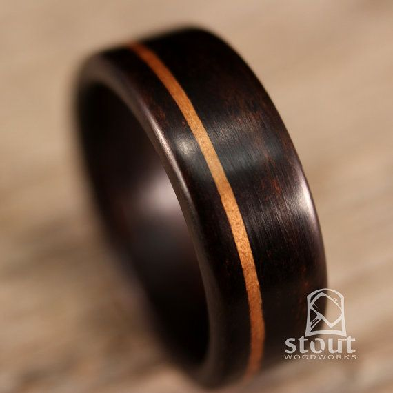 Ebony Bentwood Ring with Golden Koa Inlay - Handcrafted Wooden Ring on Etsy, $266.85 CAD