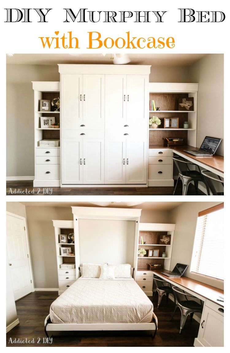 diy modern farmhouse murphy bed with bookcase home decor diy pinterest lit maison et lit. Black Bedroom Furniture Sets. Home Design Ideas