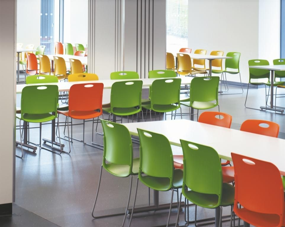 stacking chairs are great for easy cleanup in the cafeteria. [ki