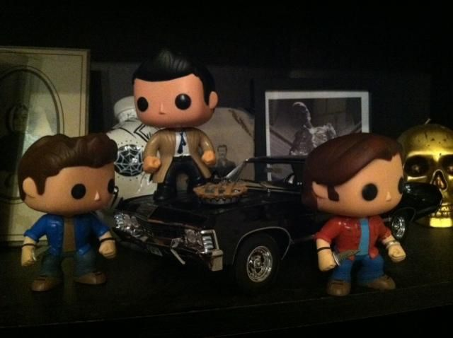 Supernatural Funko toys with the Impala and pie. <3 via https://twitter.com/GingerFierce/status/531551513735593985