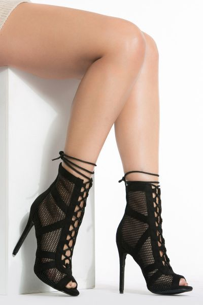 22a9abdd7151 Black Mesh Peep Toe Lace Up Booties