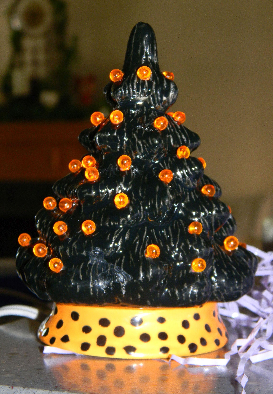 Ceramic Christmas Tree Halloween Black 5 Inch Vintage Style Lighted