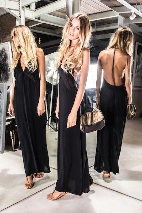 3f903d4d1fd long and sexy low cut back dress sensuelle robe de soirée dos c-nu  décolleté plongeant glamour sac doré et noir. Karma Koma